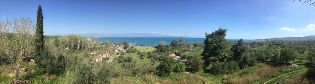 Panorama von der Villa Petalida über die Bucht von Messini