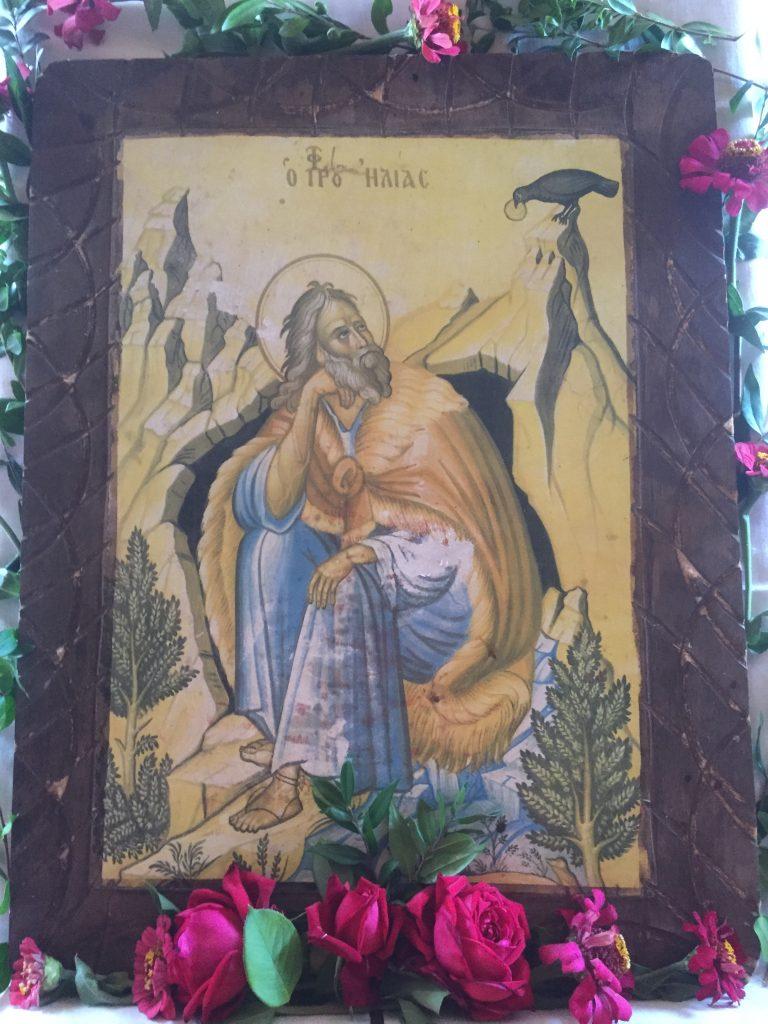 Bild des Profitis Ilias aus der gleichnamigen Kirche in Kastania über Petalidi, Messenien.